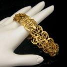 Crown Trifari Vintage Bracelet Wide Ornate Hearts Sweetheart Scroll Links