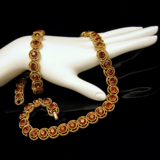 CROWN TRIFARI Vintage Necklace Bracelet Set Topaz Rhinestones Mid Century Goldtone