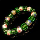 Vintage Bracelet Large Chunky Green Glass Cloisonne Beads Blue Pink Red