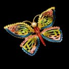 Large Vintage Butterfly Brooch Pin Colorful Enamel Rhinestones Pink Blue Green