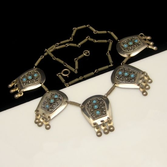 Israel Vintage Arabesque Necklace 925 Sterling Silver Turquoise Beads Ornate