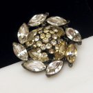 Vintage Japanned Metal Rhinestone Circle Brooch Pin Clear Marquise