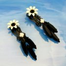 Vintage Daisy Flowers Clip Earrings Japanned White Enamel Black Rhinestones