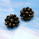 LAGUNA Large Vintage Crystal Beads Clip Earrings Faceted Black Glass