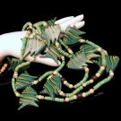 Vintage Chunky Wood Fish Beads Necklace 3 Multi Strands Green Striped