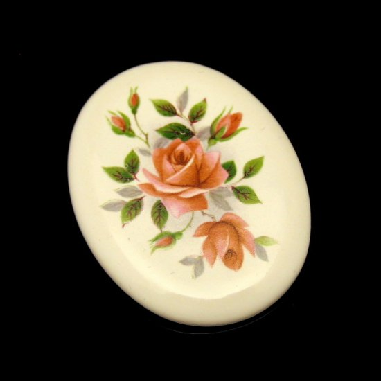 JOHNSON ENGLAND Large Oval Ceramic Vintage Brooch Pin Roses Design