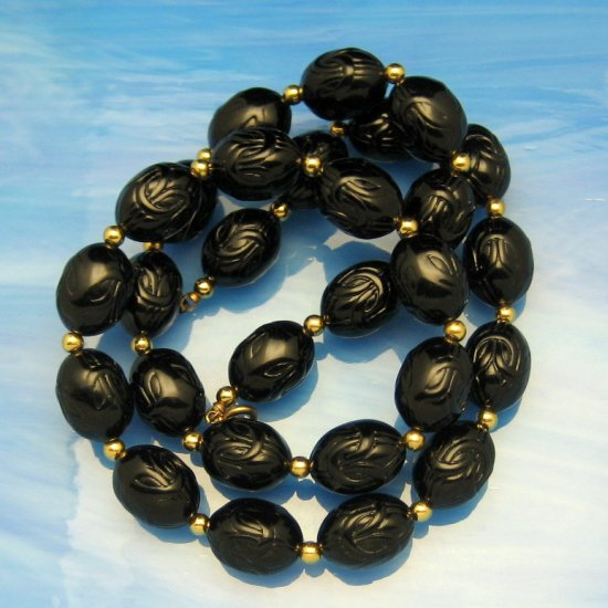 Vintage Long Necklace Chunky Black Carved Acrylic Beads Very Pretty