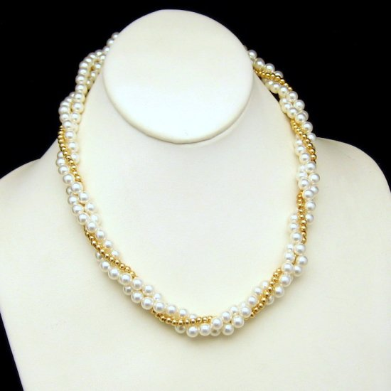 Vintage 3 Strand Torsade Necklace Glamorous Faux Pearls Goldtone Beads