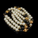 Vintage Long Necklace Faux Pearls Onyx Glass Fluted Goldtone Beads