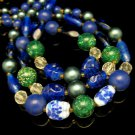 JAPAN Vintage Necklace 3 Strands Confetti Lucite Art Glass Beads Blue