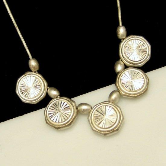 LIZ CLAIBORNE Vintage Silvertone Circle Slide Charm Dangles Necklace