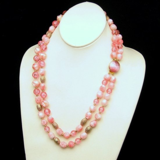 Vintage CORO PEGASUS Pink Chunky Acrylic Beads Necklace 2 Multi Strand