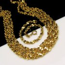Vintage Goldtone Nuggets Statement Necklace Bracelet Set 66 inch Long