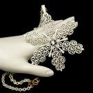 CROWN TRIFARI Vintage Snowflake Pendant Necklace Mid Century Large White Enamel Statement