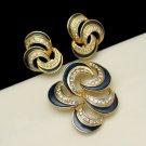 POLCINI Vintage Brooch Pin Earrings Set Blue Enamel Rhinestones