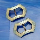 ART DECO NOUVEAU STERLING Buckles Guilloche Basse Taille Blue White Enamel Large