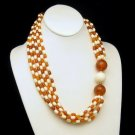 Vintage Statement Necklace Chunky Beads Amber Cream Colored Gorgeous 6 Strands
