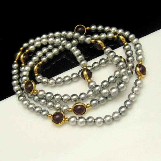 Vintage Long Necklace Gray Faux Pearls Beads Purple Bezel Set Lucite Stones