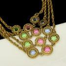 Vintage Pastel Bezel Set Crystals Long Chain Necklace Rhinestones Pink Blue