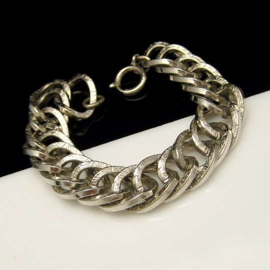 GERMANY Vintage Statement Bracelet Chunky Engraved Links Silvertone Wide