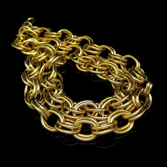 Vintage Chunky Classic Long Statement Necklace Heavy Goldtone Double Links Chain