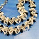 GERMANY Vintage Choker Necklace Chunky Black White Glass Beads Chain Goldtone