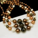 JAPAN Vintage Chunky Acrylic Glass Beads 3 Multi Strand Necklace Brown Green White