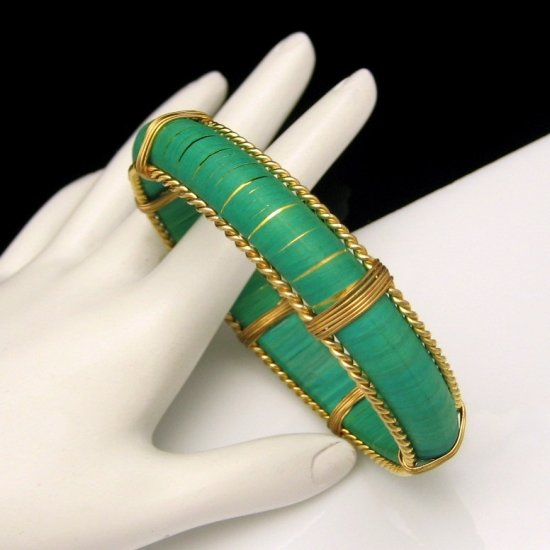 Vintage Large Bright Green Bangle Bracelet Goldtone Beaded Rope Wire Trim