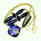 LIZ CLAIBORNE Vintage Long Pendant Necklace Cobalt Blue Foiled Glass Beads