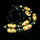 Vintage Necklace Large Chunky Art Glass Beads Tan Spotted Red  Green Yellow