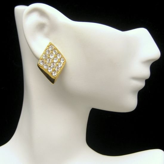 SARAH COVENTRY Vintage Post Earrings Goldtone Rhinestones
