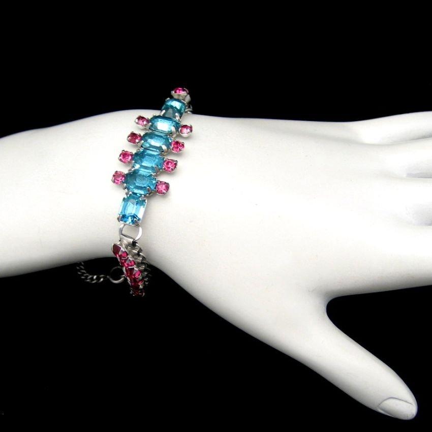 Art Deco Style Vintage Bracelet Mid Century Aqua Pink Rhinestones Rhodium Gorgeous 1950s