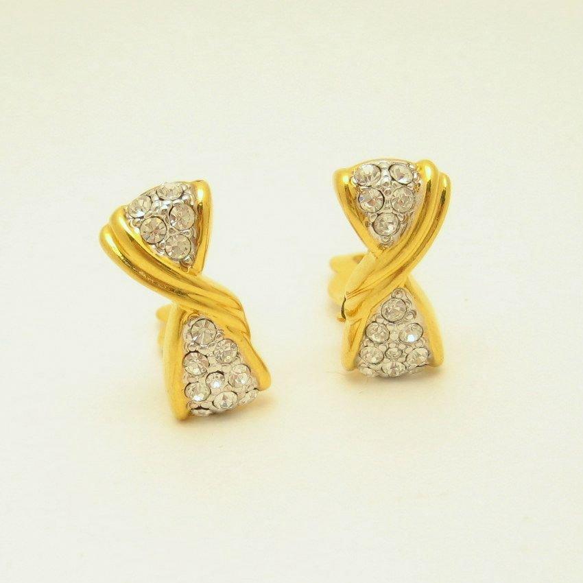 Vintage Clip Earrings Vertical Bow Rhinestone Very Classy Elegant