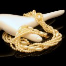 Mid Century Faux Pearls 5 Multi Strands Vintage Torsade Style Necklace Bridal Classic