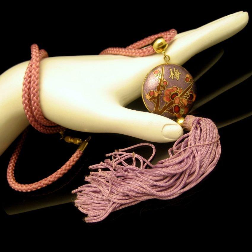 Vintage Pendant Necklace Mid Century Purple Pink Cloisonne 2 Sided Tassels