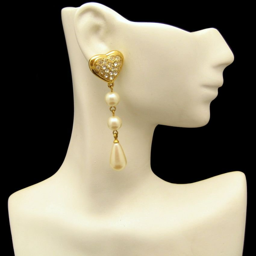 Vintage Earrings Mid Century Rhinestone Hearts Faux Pearls Dangles Long Pierced Chunky