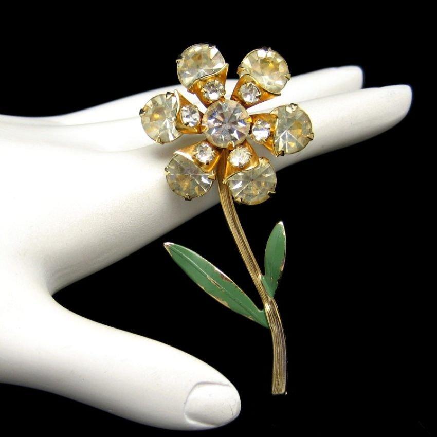Vintage Flower Brooch Pin Mid Century Yellow Glass Green Enamel Large Retro Pretty