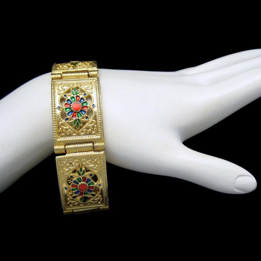Vintage Bracelet Mid Century Enamel Flowers Asian Mid East Style Wide Links Red Blue Green 8 inch