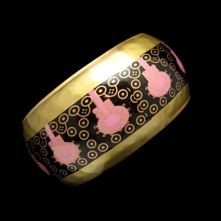 Vintage Bangle Cuff Bracelet Mid Century Brass Lucite Extra Wide 8 inch Pink Black Design