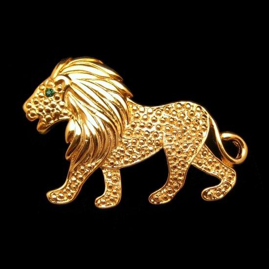 Mid Cenury Large Figural Lion Vintage Brooch Pin Leo Zodiac Green Rhinestone Eye Goldtone