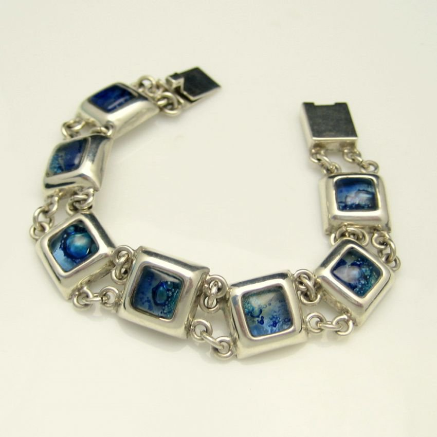 Mid Century Sterling Silver 925 Blue Art Glass Vintage Bracelet Chunky Dichroic