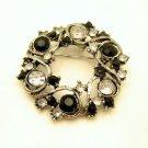 Mid Century Black Clear Rhinestones Vintage Circle Brooch Pin Wreath Very Pretty