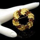 CROWN TRIFARI Mid Century Topaz Rhinestones Vintage Wreath Brooch Gold Plated Beautiful EUC