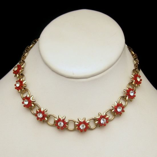 Vintage Choker Necklace Mid Century Red Lucite Flowers Rhinestones Goldtone Circles