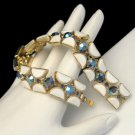 CROWN TRIFARI Vintage Bracelet Mid Century White Lucite Blue AB Rhinestone Half Moon Links