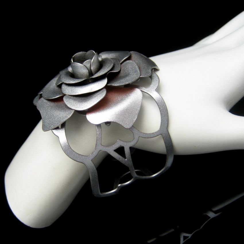 Vintage Large Rose Cuff Bracelet Mid Century Extra Wide Silver Plated Open Sides Small Wrist