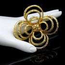 Vintage Brooch Pin Large Mid Century Gothic Quatrefoil Elegant Open Design Faceted Goldtone