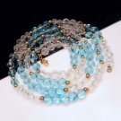 MONET Mid Century Aqua Blue Glass Beads Vintage Necklace Faux Crystals Pretty 36 inches Long