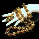 CROWN TRIFARI Mid Century Amber Lucite Necklace Bracelet Earrings Set Vintage Filigree Beads