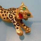 JOMAZ Mid Century Brooch Figural Leopard Vintage Pin Green Glass Eyes Joseph Mazer Bros